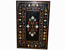 "42"" x 24"" coffee Marble Table Top pietra dura Inlaid Floral work home Decor"