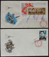 s521) Raumfahrt Space Soyuz 2 FDC UdSSR Sojus 3, 4, 5 mit Originalunterschriften
