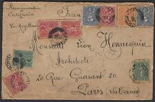 CHILI : Enveloppe Recommandée de TALCUHUANO 1893 Avec Affranchissement à 9 Timbr