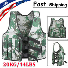 44LBS Adjustable Weighted Jacket Vest Fitness Training Exercise Waistcoat