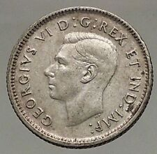 1947 CANADA King George VI - Silver 10 Cent SILVER Coin - BLUENOSE SHIP i57118
