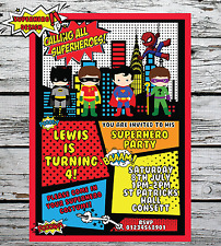 10 Personalised Superhero Fancy Dress Birthday Party Invitations Invites + envs
