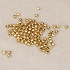 100 Pics of Round Acrylic Pearl Seed Bead Golden Loose for Women Jewelry 4mm