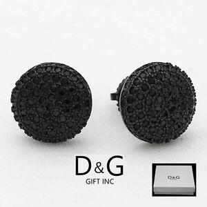 Circle Black Stone Studs Sterling Silver 8mm Round Black Stud Earrings