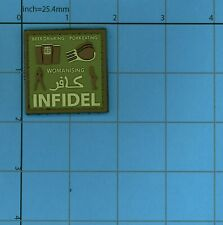 PVC INFIDEL BEER DRINKING PORK EATING WOMANIZING MORALE PATCH ARABIC OD GREEN