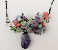 Amethyst Drop Wire Wrap Glass Flower Necklace Art to Wear Cluster Stone 18.5""
