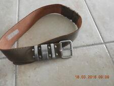 80's Leather belt 5cm x 72-82 cm waist khaki heavy silver buckle free post EUC