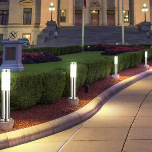 4er Set Außen Steh Leuchten EDELSTAHL Garten Weg Stand Lampen Hof Beleuchtung