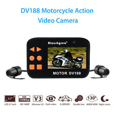 Motorcycle Twin Camera Motorbike Dual FHD Dash Cam Video Camcorder G-Sensor Set