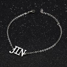 KPOP Bangtan Boys JIN Name Letter Stainless Steel Bracelet Adjustable