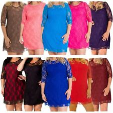 New Womens Plus Size 3/4 sleeve Contrast Colored Lined Floral Lace Dress 14-28