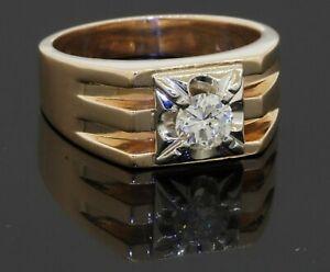 Birks designer 14K vintage 0.55CT VS1/F diamond solitaire mens ring size 10