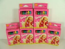 Lot of 6 Barbie for Girls 24 Crayons Boxes Unused