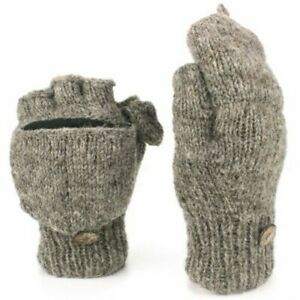 Wool Gloves Mittens Shooter Knit Hand Made Fleece Thick Warm Plain Natural Nepal