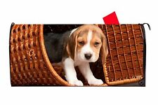 Beagle Puppy Dog in Basket Vinyl Magnetic Mailbox Cover Made in the Usa