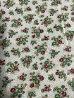 Vintage Floral Fabric Cotton Green Red Yellow Bouquets