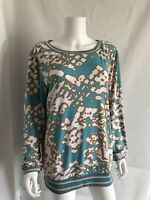 MICHAEL KORS Womens Top Tunic Blouse Stretchy Turquoise Print Long Sleeves XL