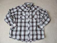 Wrangler Pearl Snap Shirt Adult 2XL XXL Gray Red Rodeo Cowboy Western Mens