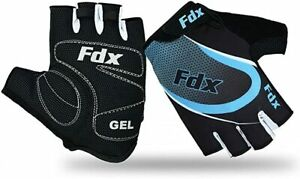 FDX Cycling Gloves Half Finger Gel Foam Padded Bike Fingerless Lightweight Mitts