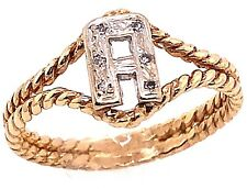 14 Karat Two Tone Gold Initial Style A Ring with Round Diamonds 101-1177