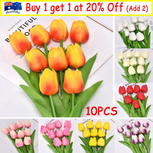 10X Artificial Real Touch Tulips Flower Wedding Party Bouquet Bridal House Decor