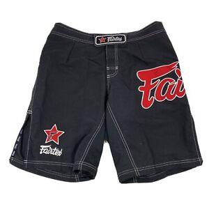 FAIRTEX AB1/P BLACK BOARD SHORTS MUAY THAI KICK BOXING MMA RED LOGO K1 TRUNKS