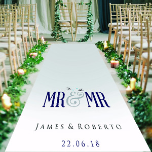 Personalised GAY/CIVIL CEREMONY WEDDING AISLE RUNNER. Carpet Decoration. 15-30ft