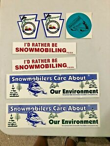 Vintage Bumper Sticker & Decal Lot (7) Snowmobile Pennsylvania  NEW OLD STOCK