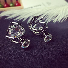 1Pair Fashion Korean Double Side Geometric Hollow Crystal Ball Ear Stud Earrings