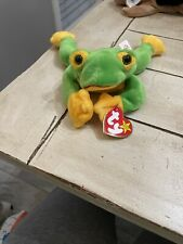 Ty Beanie Babie Green and Yellow Smoochy Frog - 4039