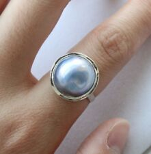 Genuine Natural 19mm Blue Mabe Pearl Rings #8 925sivler #f1731!