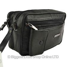 NEW Gents Black Leather Handy Wrist Bag Travel Man by LORENZ Useful Utility Gift