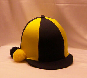 RIDING HAT COVER - NAVY BLUE & YELLOW