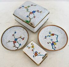 "Antique Chinese White Cloisonne Smoking Set with 3.85"" Box, 2 Ash Trays & Match"
