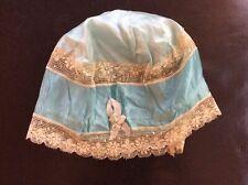 Antique Aqua Blue Satin Womens Sleeping Cap With Floral Lace Trim Handmade