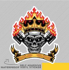 Skull Piston and Crown Racing Flame Vinyl Sticker Decal Window Car Van Bike 2485