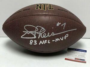 """Joe Theismann Signed Wilson NFL Super Grip Football """"83 NFL MVP"""" PSA AA54346"""