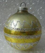 """Vintage Glass Christmas Ornament 3"""" Yellow Silver Glitter Germany"""