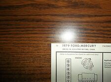 1979 Ford & Mercury Six Series Models 200 Ci (3.3 Liter) L6 1Bbl Tune Up Chart