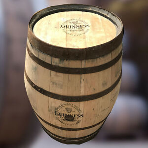 Recycled 300 L Guinness Branded Solid Oak Whisky Barrel Pub Table | Patio Table