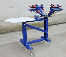 Micro-adjust 4 Color 1 Station Screen Printing Printer Rotary Frame& Metal Stand