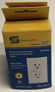 Secure Corporation 20 AMP Shock Register  2 Pole 3 Wire Re ceptacle Wall Plate