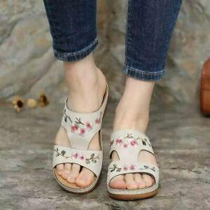 Women's Comfort Slipper Embroidered Platform Slide Wedge Heel Slipper Home Shoes