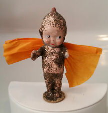 Atq Halloween Kewpie Figurine Orange Crape Wings Glitter Covered Body - As Is