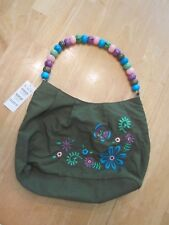 Girls Purse Handbag Childrens Place Embroidered Flower Butterfly Bead Handle NWT