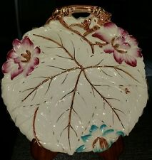 ENGLISH ANTIQUE 19C TEXTURED MAJOLICA LARGE LEAF SHALLOW DISH WITH FLOWERS