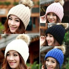 Womens Wool Knitted Fur Pom Pom Beanie Bobble Ski Hat Slouch Cap Unisex Warm