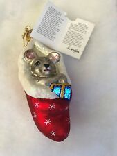Christopher Radko Glass Ornament Squeakles Mouse