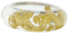 ZSISKA Dragon Resin Bangle.  Clear resin and 24kt Gold leaf inlay.  Size Medium