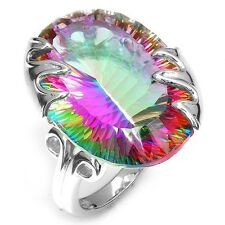 925 Silver Ring Huge 8.9CT Mystic Rainbow Topaz Women Men Cocktail Size 6-10